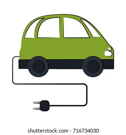 electric car with plug icon image