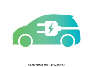 Electric car with plug icon symbol, EV car, Green hybrid vehicles charging point logotype, Eco friendly vehicle concept, Vector illustration - Shutterstock ID 1917862454