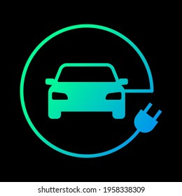 Electric car with plug icon symbol, EV car, Green hybrid vehicles charging point logotype, Eco friendly vehicle concept, Isolated on black background, Vector illustration