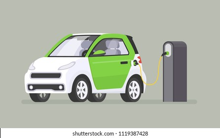 The electric car is recharged at the charging station. Vector illustration in a flat style