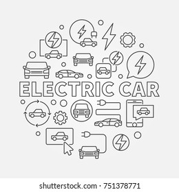 Electric Car round illustration. Vector EV concept circular symbol in thin line style