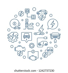 Electric car round vector illustration made with EV and charging station outline icons on white background