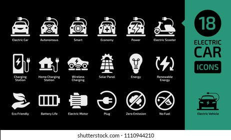 Electric car and scooter shape icon set on a black background with charging station, solar penel, renewable energy, eco friendly, battery life, zero emission, no fuel.