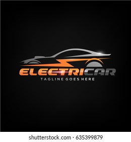 Electric Car Silhouette Logo template. Vector Illustration eps.10