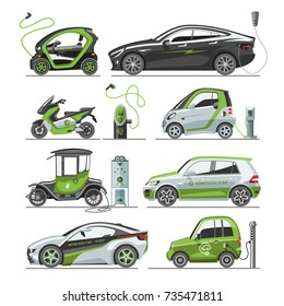 Electric car with solar panels eco electro transport vector illustration automobile socket electrical car battery charger.
