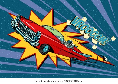electric car space, high speed. Pop art retro comic book vector cartoon hand drawn illustration
