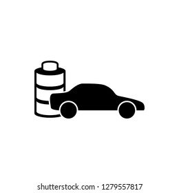 Electric car symbol. Electric car plug sign. Electric car charging spot icon