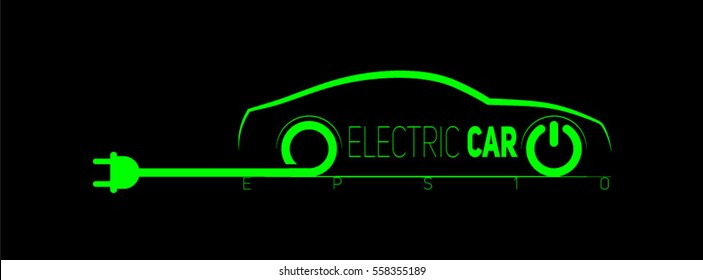 Electric car symbol With wire and plug