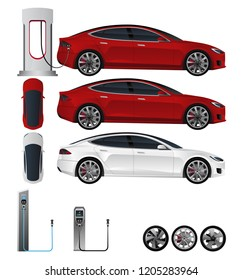 Electric car. Vector set to design illustrations with various elements