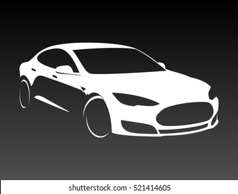 Electric car vector silhouette