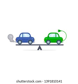 Electric car versus gasoline and diesel car on scales flat color illustration. Comparison between electric and gas car.