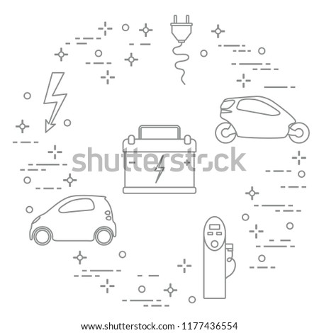Electric Cars Battery Charging Station Electrical Stock Vector