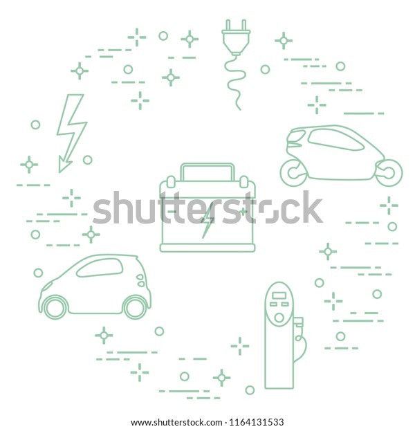 Electric cars, battery, charging station, electrical safety sign, cable, electrical plug. New transport eco technologies.