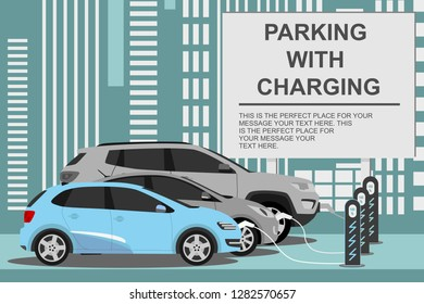 electric cars charging and charger station banner. Eco car concept for electromobility, modern technology. Vector 10 eps