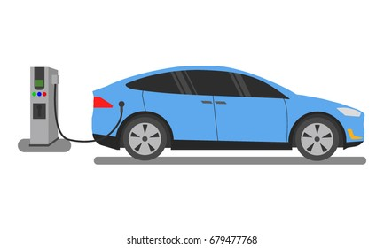 Electric cars charging at the charger station. Flat style vector illustration. Car simple silhouette. Modern, minimalist icon in stylish colors. Electromobility e-motion concept.