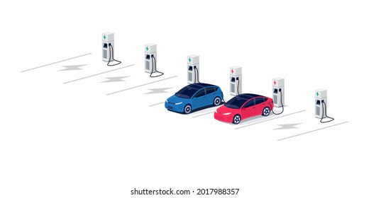 Electric cars charging on empty parking lot area with fast supercharger station and many free charger stalls. Vehicle on electricity network grid. Isolated flat vector illustration on white background