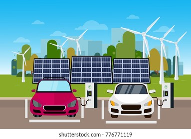 Electric Cars Charging At Station From Wind Trurbines And Solar Panel Batteries Eco Friendly Vechicle Concept Flat Vectro Illustration