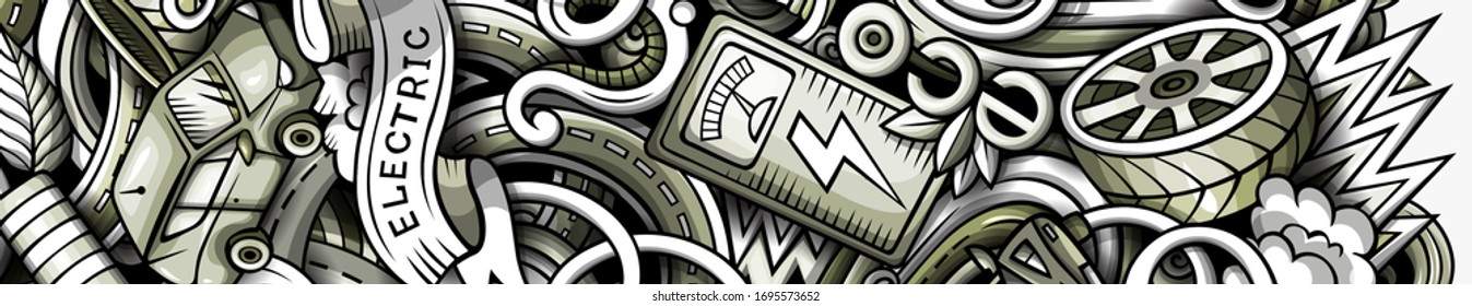 Electric cars hand drawn doodle banner. Cartoon detailed flyer. Automotive identity with objects and symbols. Monochrome vector design elements background
