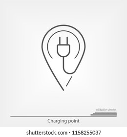 Electric charge point. Map pointer with editable stroke