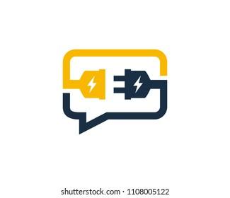 Electric Chat Icon Logo Design Element