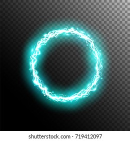 Electric circle. Round frame with electricity and lightnings.