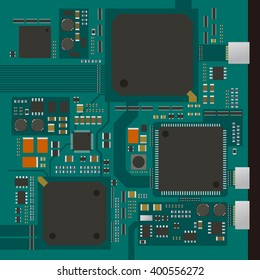 electric circuit board, various IC chips and electronic components, vector illustration