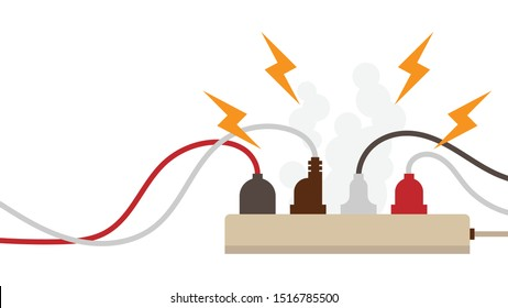 Electric circuit overload and power strip safety, short circuit from full plug in 4-outlet power strip. Dangerous from short circuit peripheral with clipping mask in file, flat design style.