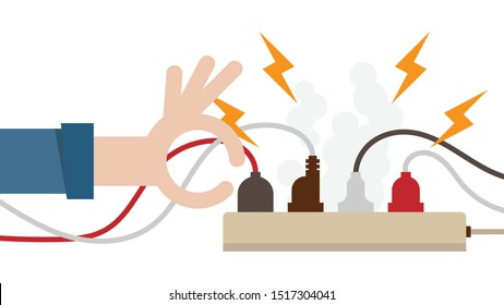 Electric circuit overload and power strip safety, short circuit from full plug in 4-outlet power strip. Dangerous from short circuit peripheral. Warning don't touch by hand.