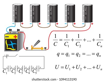 The electric circuit of a series connection of capacitors, physical formulas for calculation of parameters of the battery.