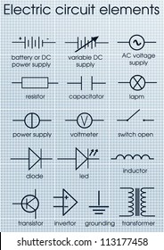Electric circuit symbol element set