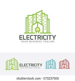 Electric City, building, city, line, energy, power. Vector logo template