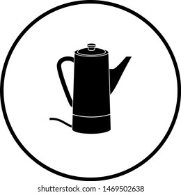 electric coffee percolator with closed lid symbol