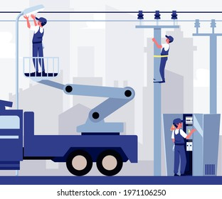 Electric company workers assemble outdoor electrical and lighting equipment, flat vector illustration. Background with electricians work on the street.