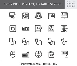 Electric component simple line icons. Vector illustration with minimal icon - chip, computer, cpu, gpu, ram, hard disk, mouse, keyboard, memory card hardware. 32x32 Pixel Perfect. Editable Stroke.