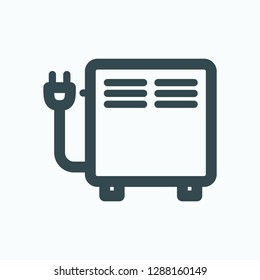 Electric convector icon, electric domestic convector heater with plug vector icon