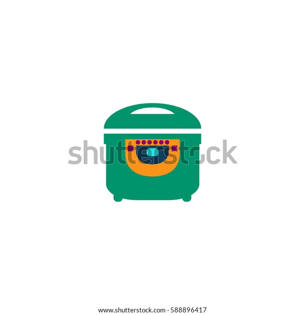 Electric Cooker. Color symbol icon on white background. Vector illustration