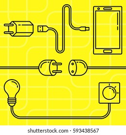 Electric devices set. Line art mobile phone, charger, power outlet, lamp bulb