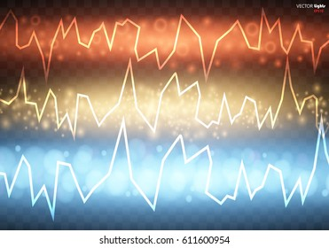 Electric discharge on transparent background. Energy colors lightning with electric discharge isolated. Vector illustration