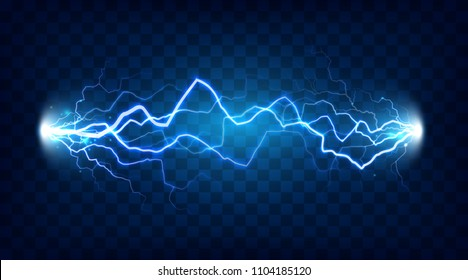Electric discharge shocked effect for design. Power electrical energy lightning spark or electricity effects realistic isolated blitz vector illustration on checkered background