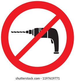 electric drill prohibition icon (not allowed sign)