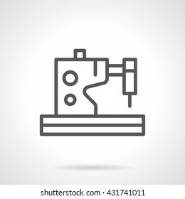Electric or electromechanical sewing machine. Tailoring and dressmaking. Equipment for fashion industry. Simple black line vector icon