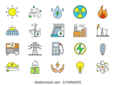 Electric energy color icons set. Electricity. Power generation and accumulation. Electric power industry. Alternative energy resources. Isolated vector illustrations