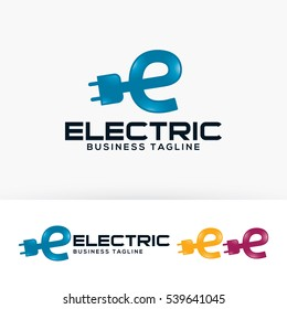 Electric Energy, letter E, power, vector logo template