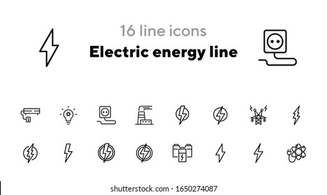 Electric energy line icon. Set of line icons on white background. Power, electricity, lightning. Energy resource concept. Vector illustration can be used for topics like power, electricity, signboards