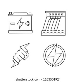 Electric energy linear icons set. Accumulator, hydroelectric dam, power fist, lightning bolt. Thin line contour symbols. Isolated vector outline illustrations. Editable stroke