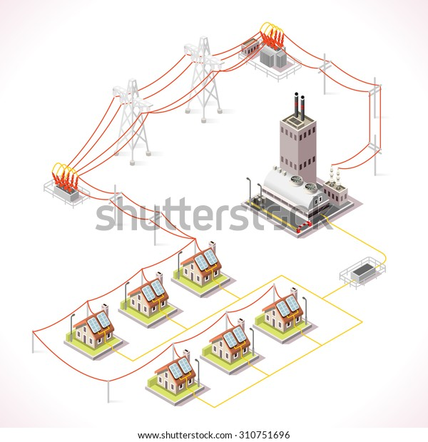 Electric Energy Power Factory Distribution Chain Infographic Concept Isometric Electric Grid 3d isometric Electricity Grid Power Power Distribution Building Supply Energy City Building House Vector 3D