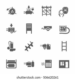 Electric equipment and construction equipment, single-color icons. Gray, vectors, electrical, gas and construction equipment on a white background.