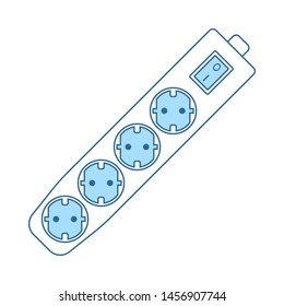 Electric Extension Icon. Thin Line With Blue Fill Design. Vector Illustration.