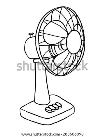 Electric Fan Cartoon Vector Illustration Black Stock Vector Royalty