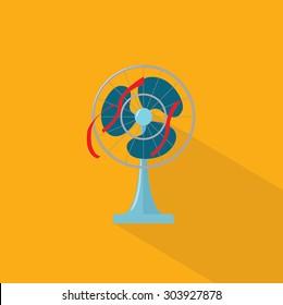 Electric Fan Flat Vector